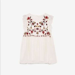 White Zara Embroidered Top
